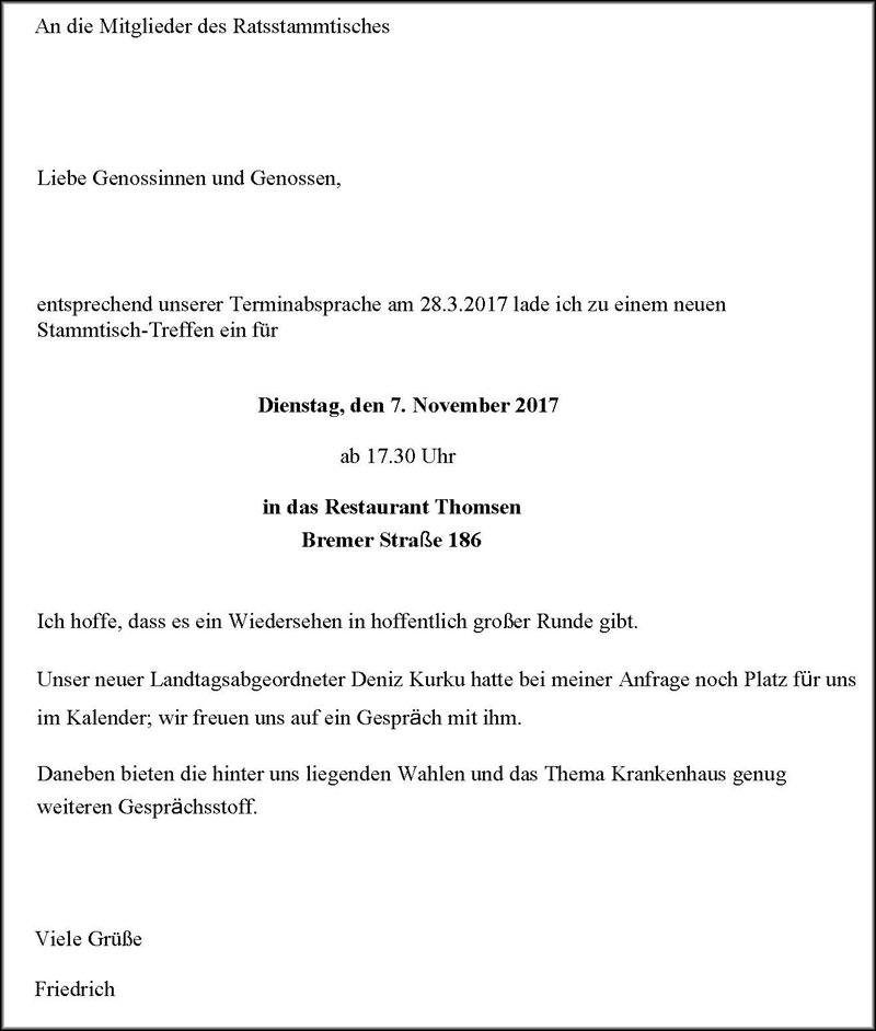07.11.2017. Zu Gast bei den Mitgliedern des Ratsstammtisches.
